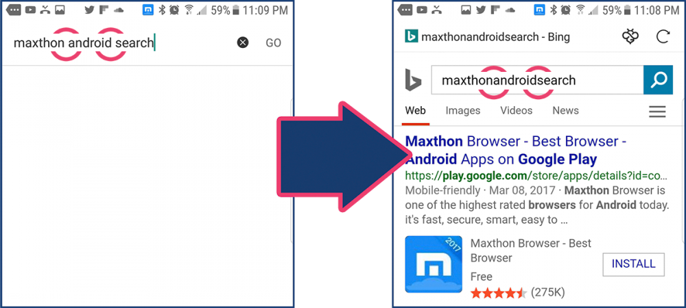 MaxthonAndroid_5.0.5.3031_SpacesDroppedInSearch.png