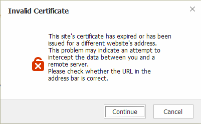 Maxthon browser - Invalid Certificate error pop-up (unknown site).png