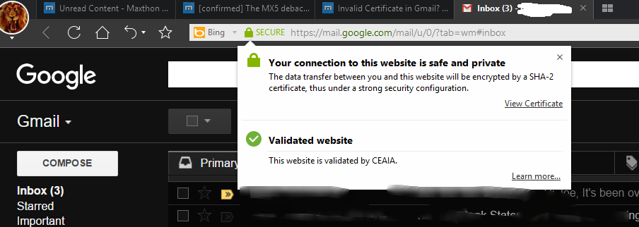 pc issue] Invalid Certificate in Gmail? - Maxthon Support