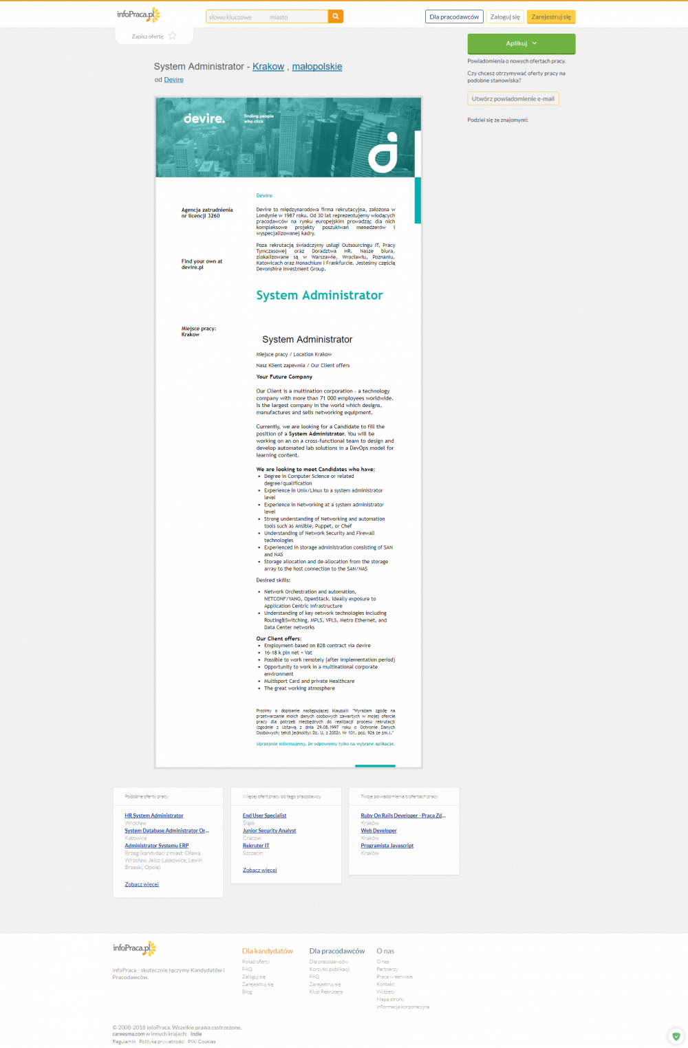 Oferta pracy - System Administrator, Krakow   infoPraca.pl_20180516133230.png